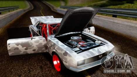 Chevrolet Camaro SS Camo Drift para GTA San Andreas vista traseira
