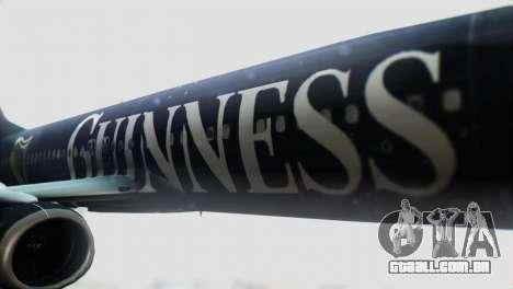 Boeing 737-800 Ryanair Guinness para GTA San Andreas vista traseira