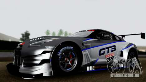 Nissan GT-R (R35) GT3 2012 PJ3 para GTA San Andreas traseira esquerda vista