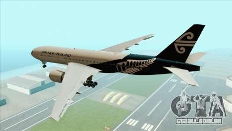 B777-200ER Air New Zealand Black Tail Livery para GTA San Andreas esquerda vista
