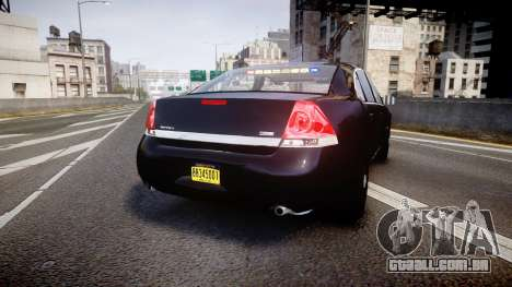Chevrolet Impala Unmarked Police [ELS] ntw para GTA 4 traseira esquerda vista