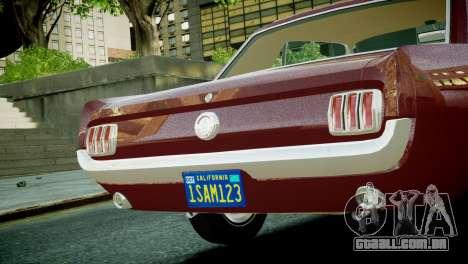 Ford Mustang 1965 para GTA 4 vista direita