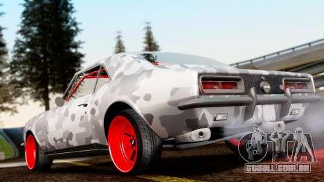 Chevrolet Camaro SS Camo Drift para GTA San Andreas traseira esquerda vista