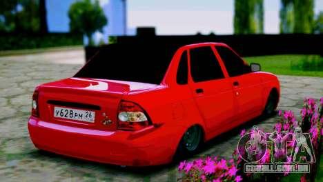 Lada 2170 Priora Spartak Moscovo para GTA San Andreas traseira esquerda vista