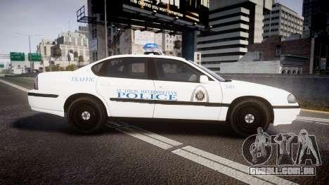 Chevrolet Impala Metropolitan Police [ELS] Traf para GTA 4 esquerda vista