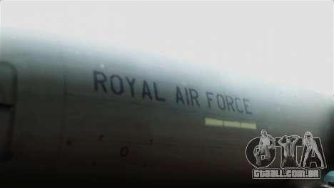 Boeing 737-800 Royal Air Force para GTA San Andreas vista traseira