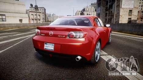 Mazda RX-8 2006 v3.2 Advan tires para GTA 4 traseira esquerda vista