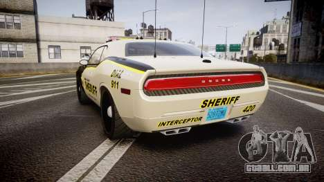 Dodge Challenger MCSO [ELS] para GTA 4 traseira esquerda vista