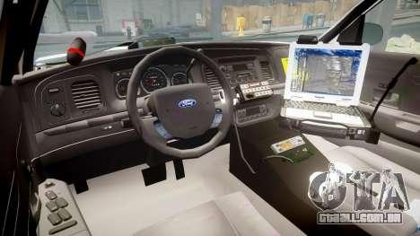 Ford Crown Victoria Indiana State Police [ELS] para GTA 4 vista de volta