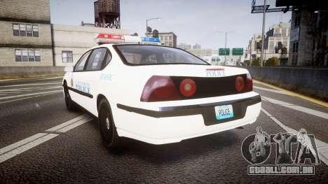 Chevrolet Impala Metropolitan Police [ELS] Traf para GTA 4 traseira esquerda vista