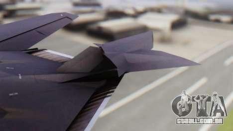 Lockheed F-117 Nighthawk ACAH para GTA San Andreas traseira esquerda vista