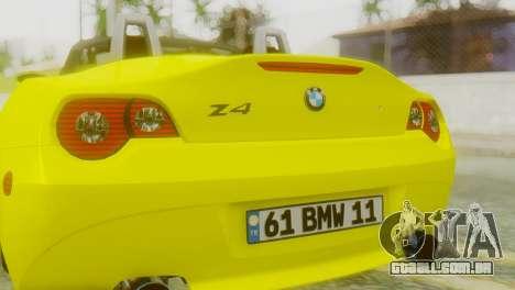 BMW Z4 Construção Ens para GTA San Andreas vista traseira
