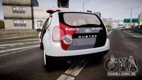 Lada Duster 2015 PMESP [ELS] para GTA 4 traseira esquerda vista