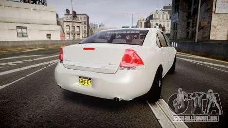 Chevrolet Impala Unmarked Police [ELS] tw para GTA 4 traseira esquerda vista