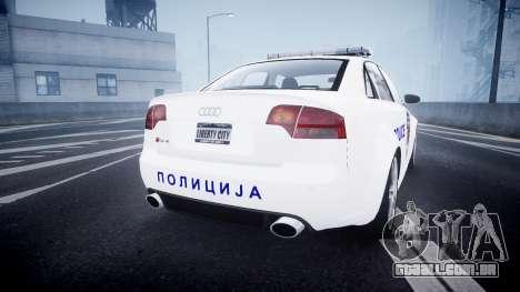 Audi RS4 Serbian Police [ELS] para GTA 4 traseira esquerda vista
