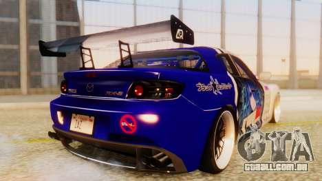 Mazda RX-8 Tuned Black Rock Shooter Itasha para GTA San Andreas traseira esquerda vista