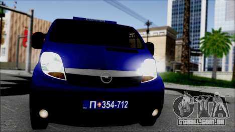 Opel Vivaro Policija para GTA San Andreas vista traseira