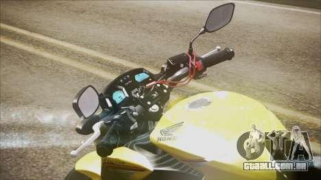 Honda CB650F Amarela para GTA San Andreas traseira esquerda vista