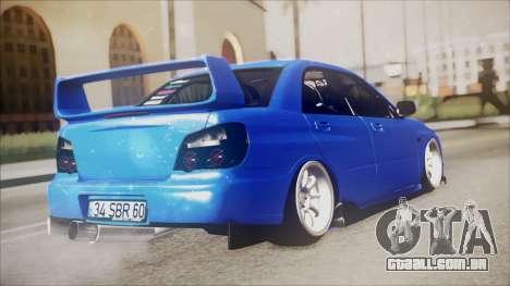 Subaru Impreza WRX STI B. O. Construction para GTA San Andreas esquerda vista