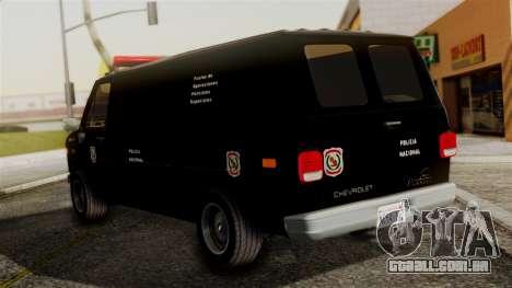 Chevrolet Chevy Van G20 Paraguay Police para GTA San Andreas esquerda vista
