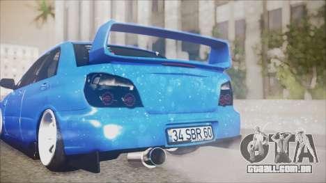 Subaru Impreza WRX STI B. O. Construction para GTA San Andreas vista traseira