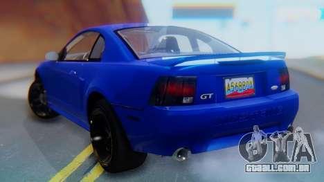 Ford Mustang 1999 Clean para GTA San Andreas esquerda vista