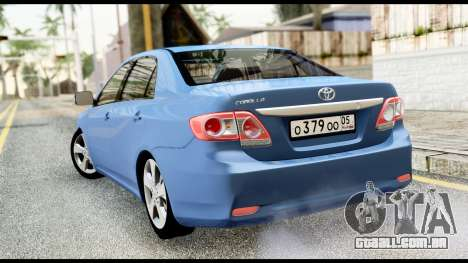 Toyota Corolla 2012 para GTA San Andreas esquerda vista