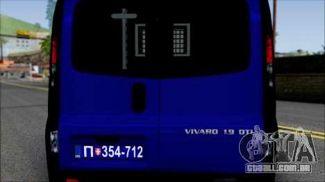 Opel Vivaro Policija para GTA San Andreas vista interior
