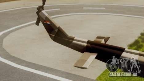 Bell UH-1 Paraguay para GTA San Andreas traseira esquerda vista
