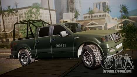Ford F-150 Military MEX para GTA San Andreas esquerda vista