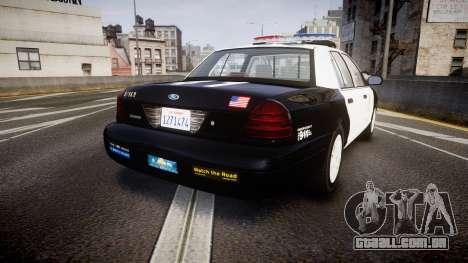 Ford Crown Victoria 2011 LAPD [ELS] rims1 para GTA 4 traseira esquerda vista