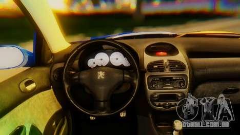 Peugeot 206 Full Tuning para GTA San Andreas vista direita