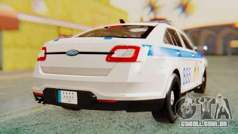 Ford Taurus Iraq Police v2 para GTA San Andreas traseira esquerda vista
