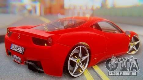 Ferrari 458 Italia para GTA San Andreas esquerda vista