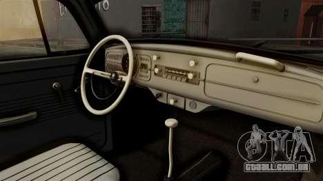 Volkswagen Beetle 1963 Policia Federal para GTA San Andreas vista traseira