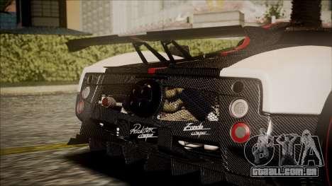Pagani Zonda Cinque 2009 Autovista para GTA San Andreas vista traseira