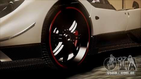 Pagani Zonda Cinque 2009 Autovista para GTA San Andreas traseira esquerda vista