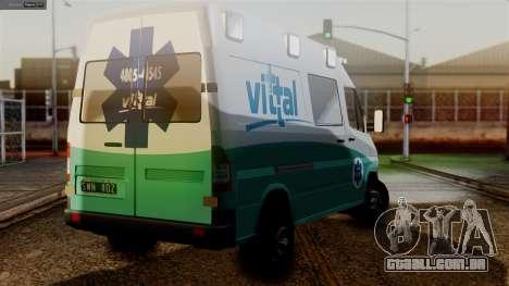 Mercedes-Benz Sprinter Ambulance Vittal para GTA San Andreas esquerda vista