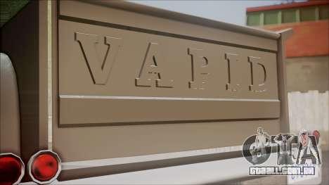 GTA 5 Vapid Slamvan Pickup para GTA San Andreas vista traseira