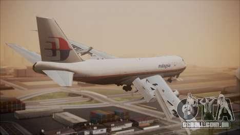 Boeing 747-200 Malaysia Airlines para GTA San Andreas esquerda vista
