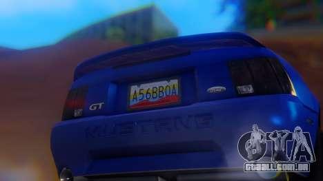 Ford Mustang 1999 Clean para vista lateral GTA San Andreas