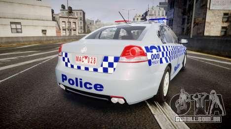 Holden Commodore Omega Victoria Police [ELS] para GTA 4 traseira esquerda vista