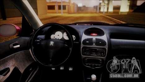 Peugeot 206 Al Piso para GTA San Andreas vista traseira