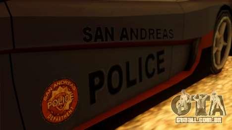 Police Turismo para GTA San Andreas traseira esquerda vista