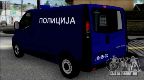 Opel Vivaro Policija para GTA San Andreas esquerda vista