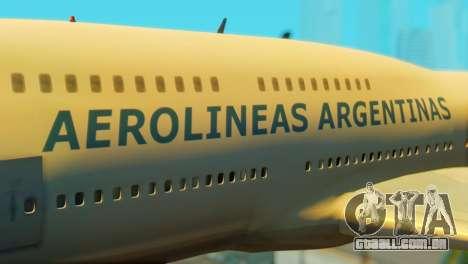 Boeing 747 Argentina Airlines para GTA San Andreas vista traseira