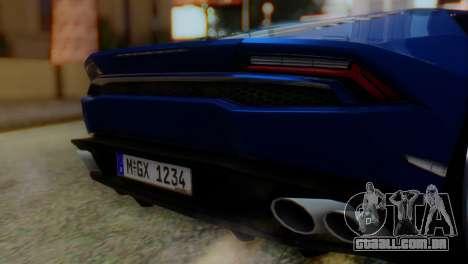 Lamborghini Huracan 2015 para GTA San Andreas vista traseira