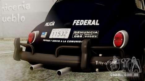 Volkswagen Beetle 1963 Policia Federal para GTA San Andreas vista interior
