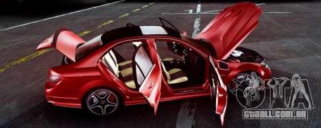 Mercedes-Benz C63 AMG 2013 para GTA San Andreas vista traseira