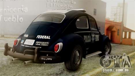 Volkswagen Beetle 1963 Policia Federal para GTA San Andreas esquerda vista